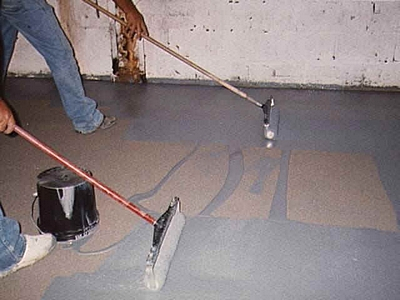 rolling on an epoxy garage floor